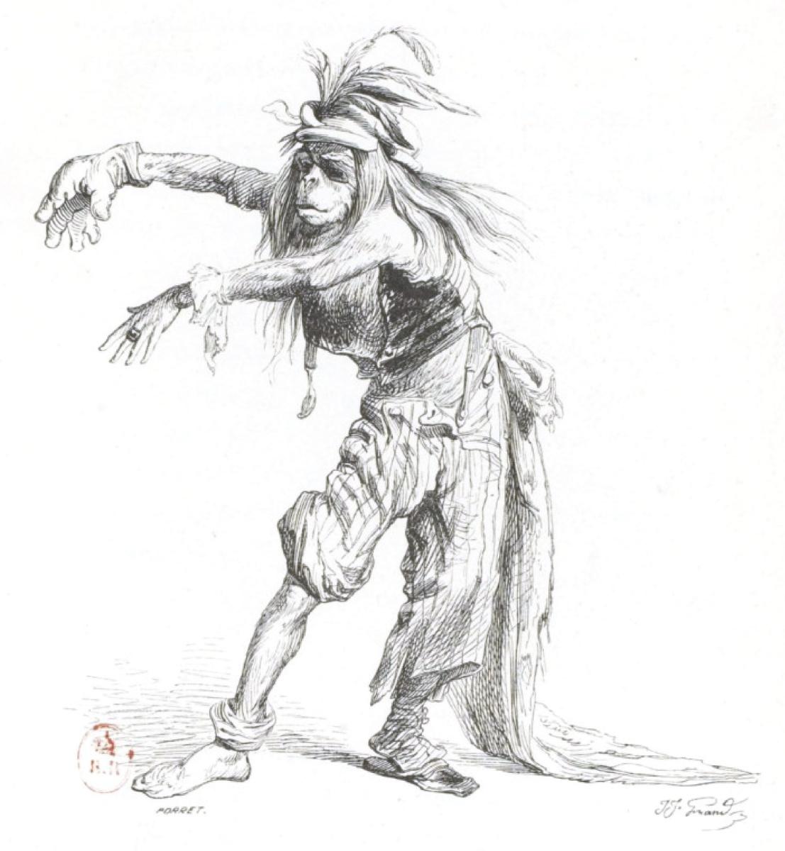 """Жан Иньяс Изидор (Жерар) Гранвиль. Гротескный карнавальный танец в лохмотьях. """"Сцены общественной и частной жизни животных"""""""