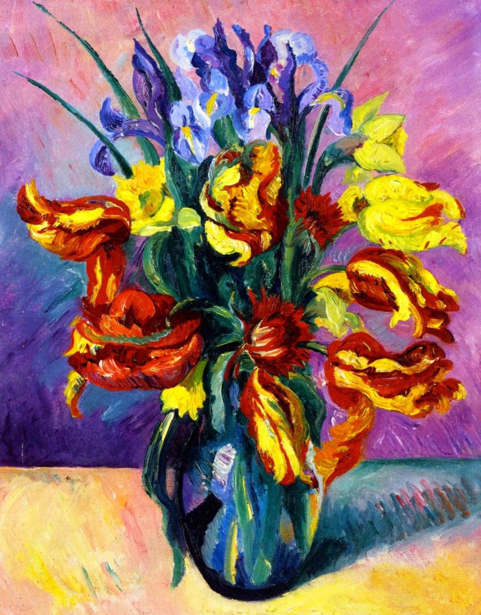 Henri Manguin. Variegated tulips