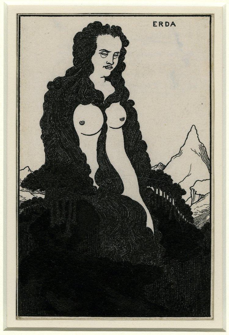 Обри Бердслей. Эрда, иллюстрация к опере «Золото Рейна»