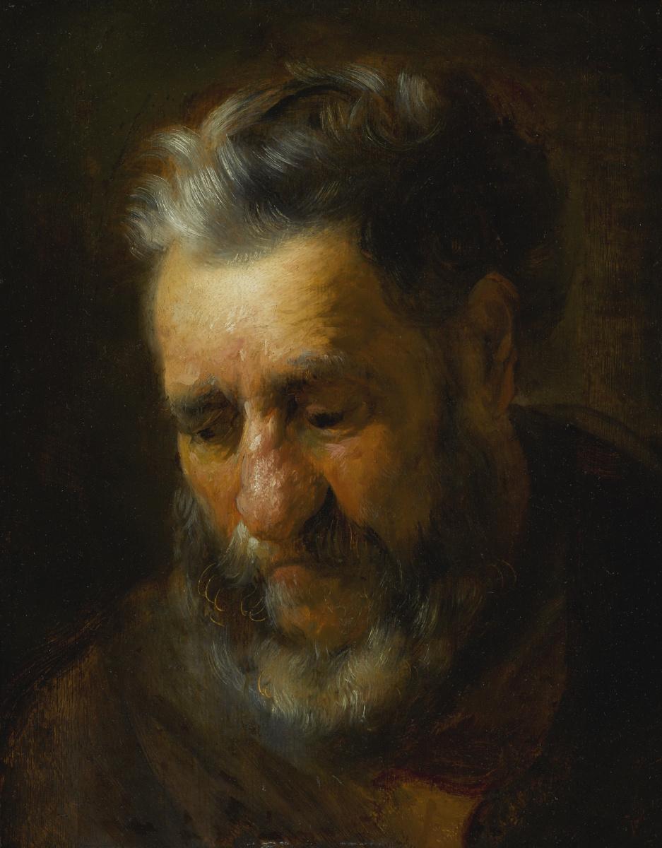 Ян Ливенс. Портрет склонившегося бородатого мужчины