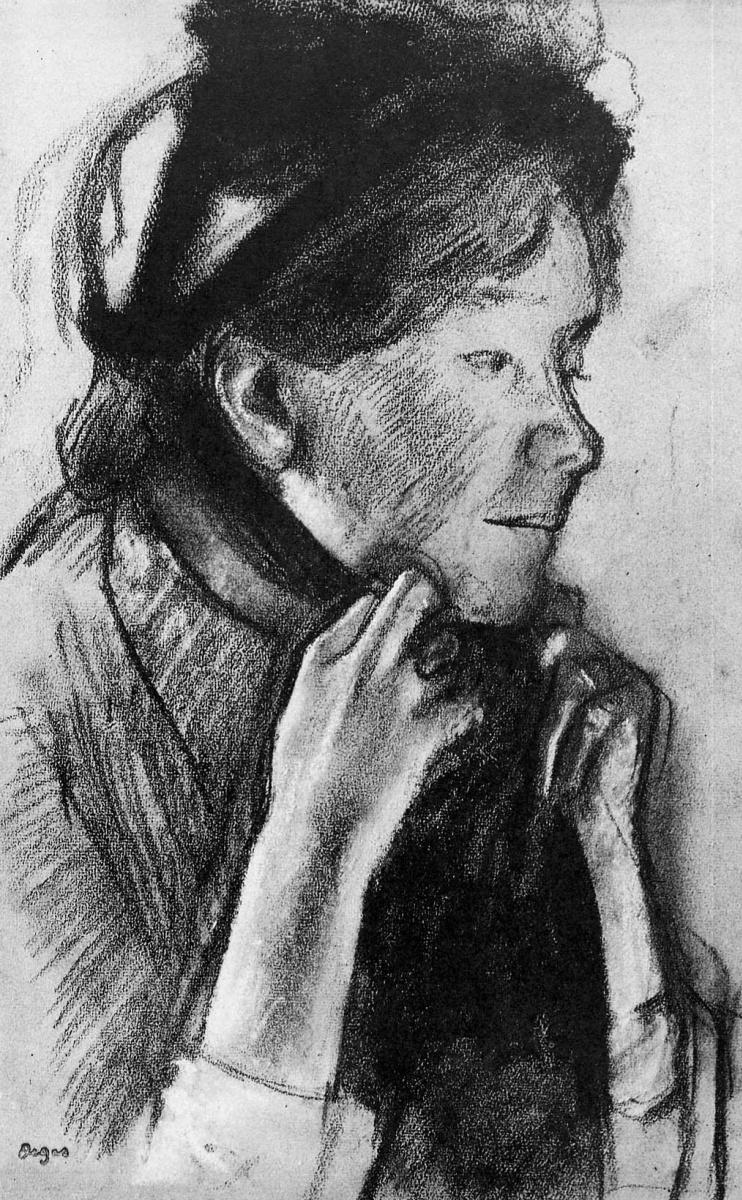 Эдгар Дега. Женщина завязывает ленты на своей шляпе
