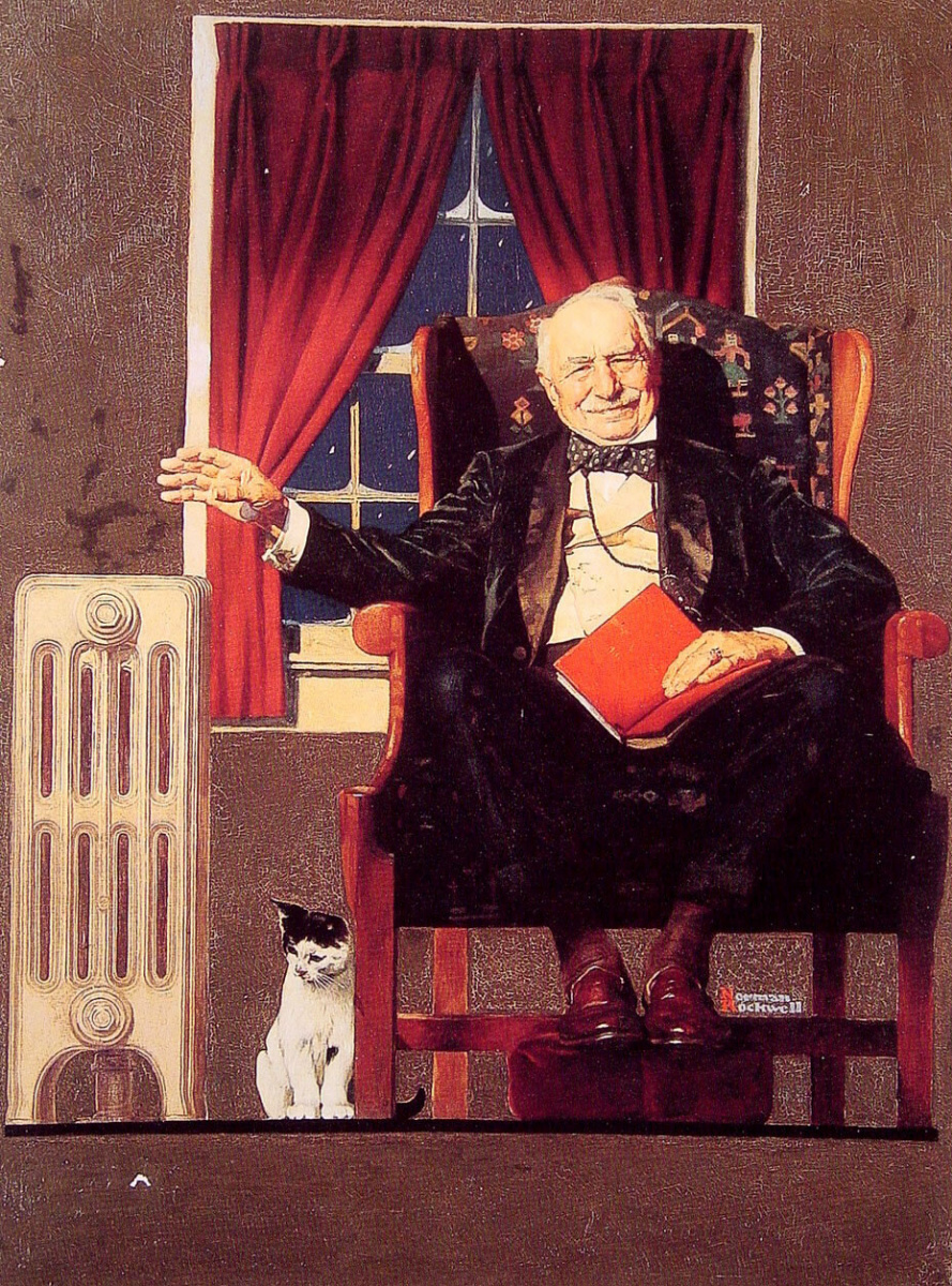 Норман Роквелл. Мужчина, сидящий рядом с радиатором