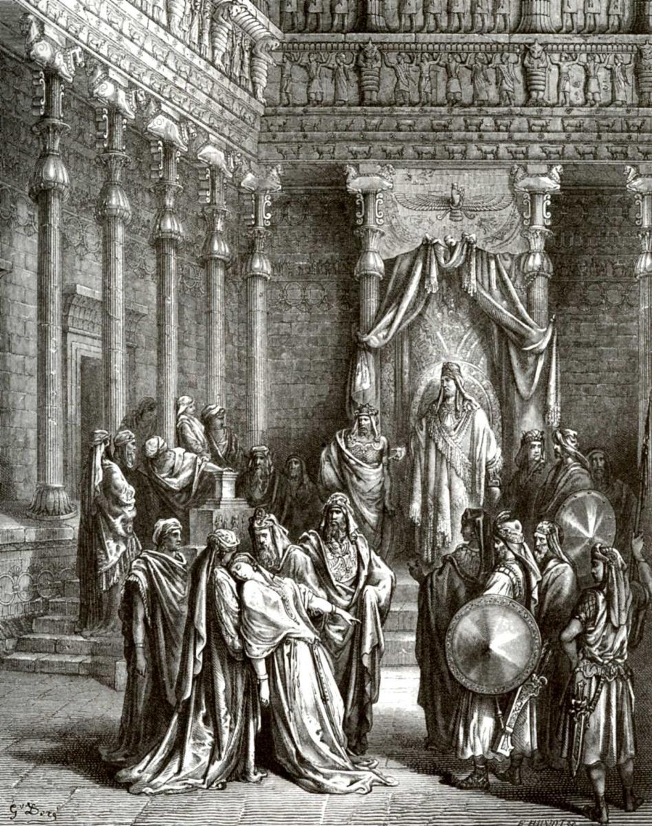 Поль Гюстав Доре. Иллюстрация к Библии: Есфирь перед Артаксерксом