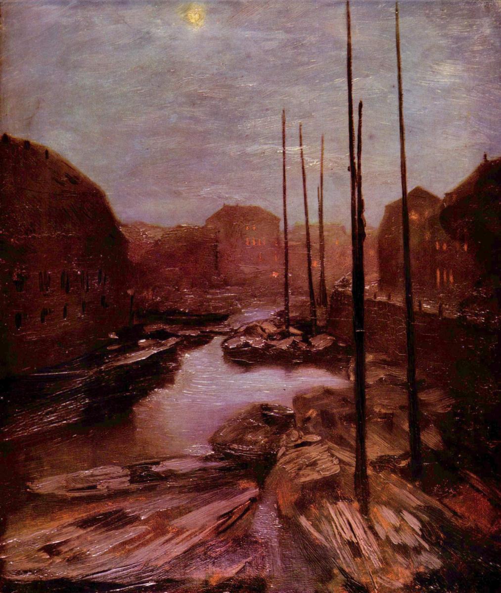 Adolf Friedrich Erdmann von Menzel. Friedrichsgracht in the moonlight