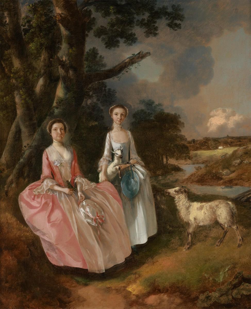 Томас Гейнсборо. Миссис Мэри Кобболд и ее дочь Энн с ягненком на фоне пейзажа