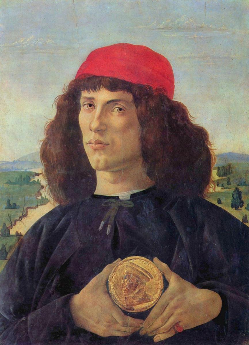 Сандро Боттичелли. Портрет молодого человека с медалью Козимо Медичи Старшего