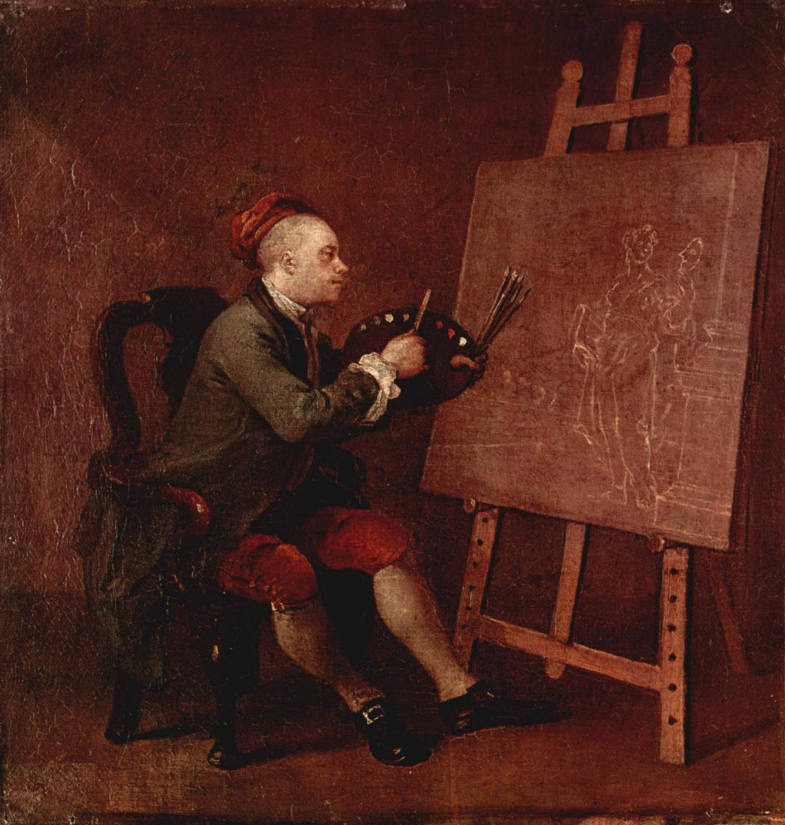 Уильям Хогарт. Автопортрет перед мольбертом за работой над картиной о музе комедии Талии