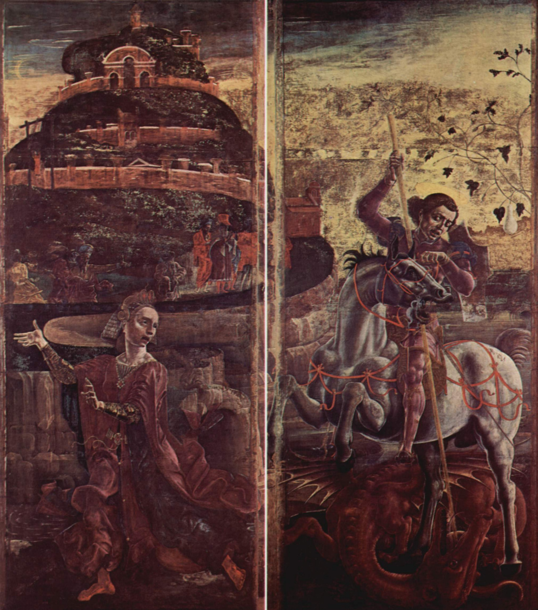 Cosimo Tour. Four fold organ of the Ferrara Cathedral with St George and the Annunciation. The Princess and St. George defeating the dragon