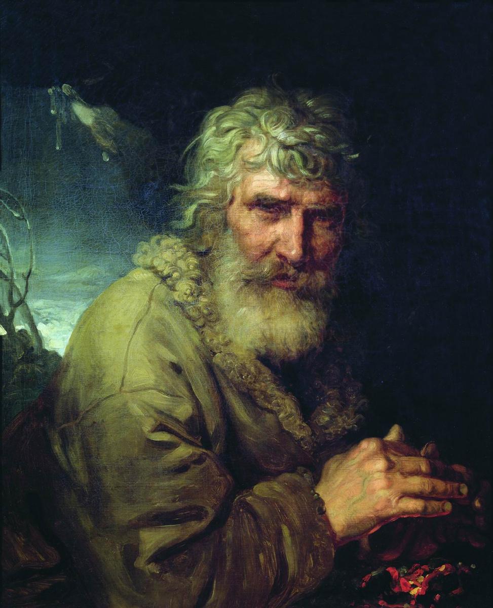 Владимир Лукич Боровиковский. Аллегорическое изображение зимы в виде старика, греющего руки у огня.