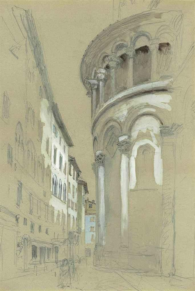 John Ruskin. Eastern Apse of the Cathedral of San Martino, Lucca, Italy
