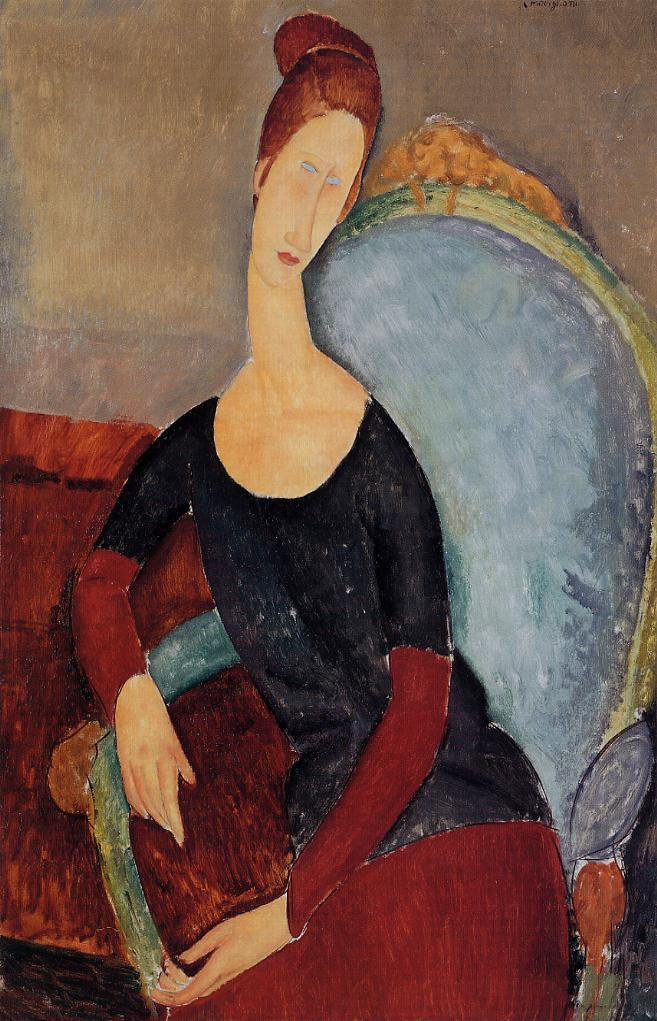 Amedeo Modigliani. Portrait of Jeanne hebuterne in a chair
