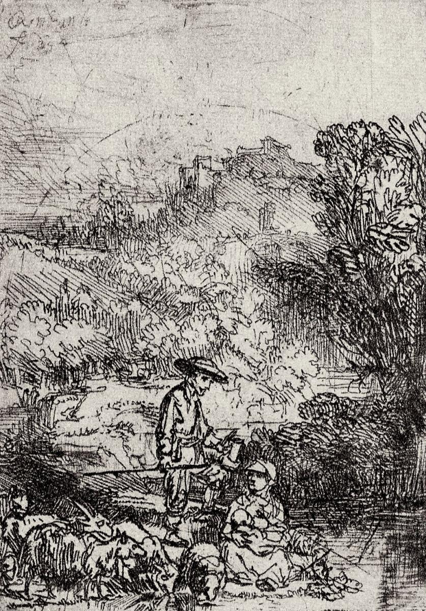 Рембрандт Харменс ван Рейн. Пейзаж с семейством пастуха