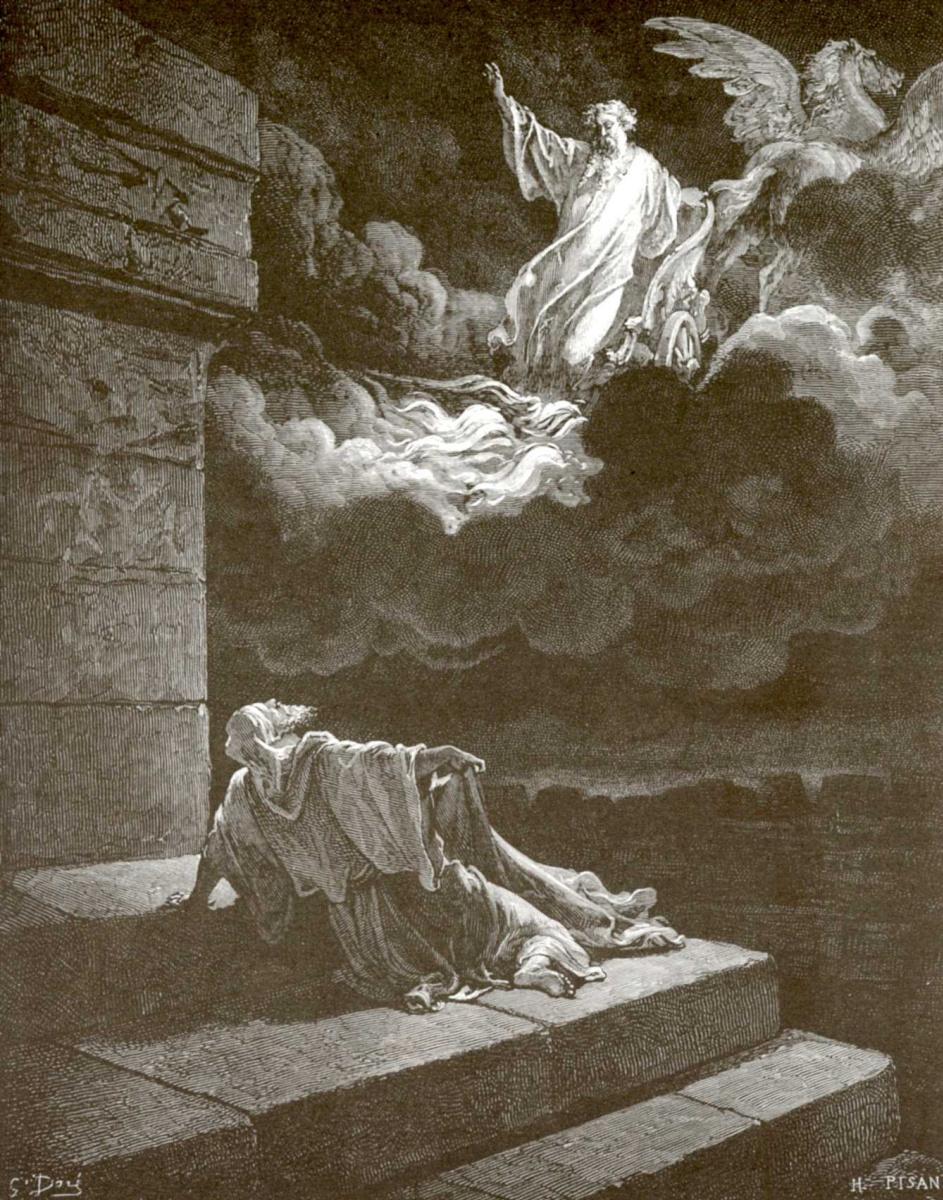 Поль Гюстав Доре. Иллюстрация к Библии: пророк Илия на огненной колеснице