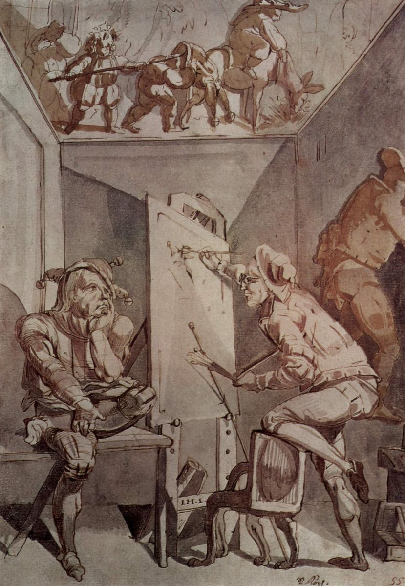 Иоганн Генрих Фюссли. Художник в очках, изображающий глупца
