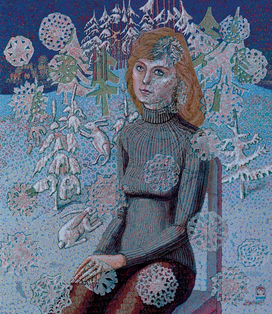 Алексей Петрович Акиндинов. Snowfall Portrait of the wife - Elena
