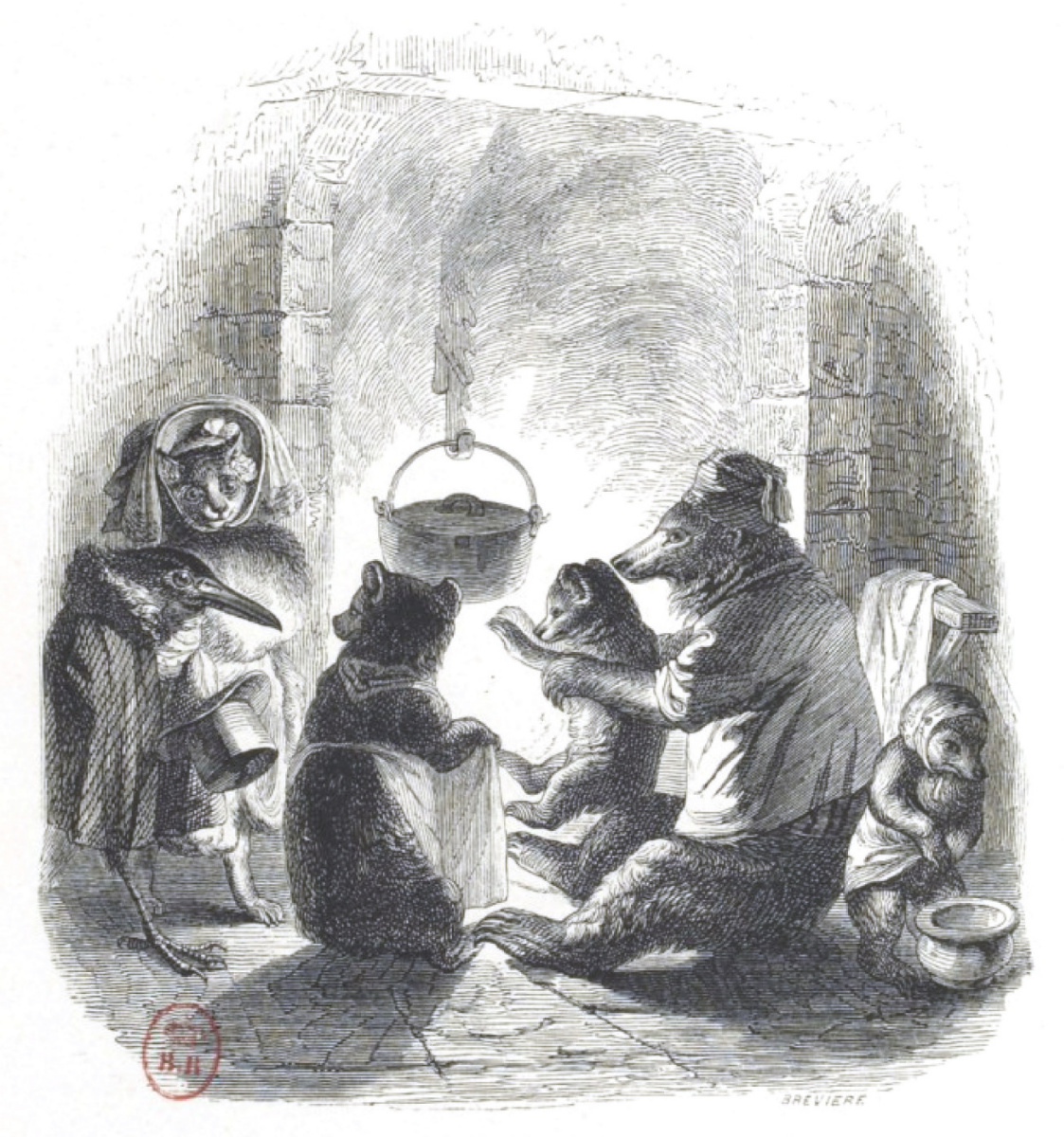 """Jean Inias Isidore (Gerard) Granville. My happy family. """"Scenes of public and private life of animals"""""""