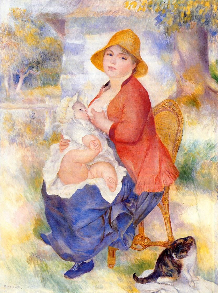 Pierre-Auguste Renoir. The child at the breast (Maternity)