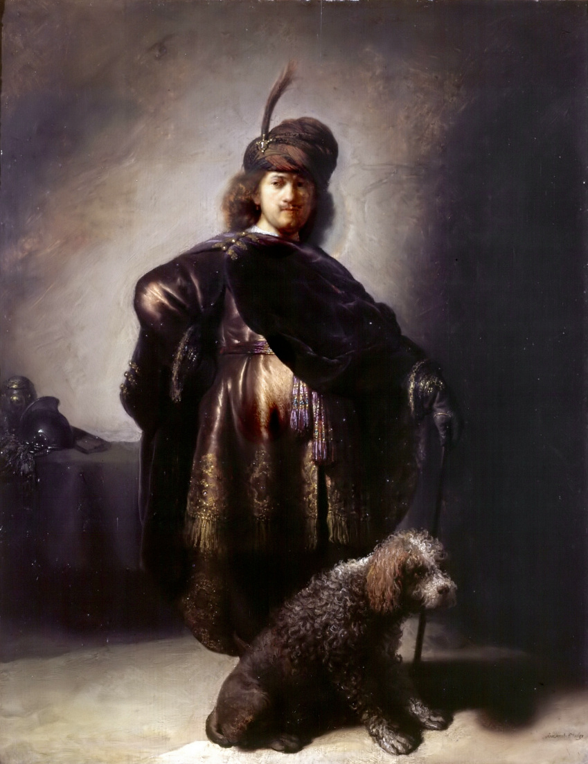 Rembrandt Harmenszoon van Rijn. Self-portrait in Oriental costume with a poodle