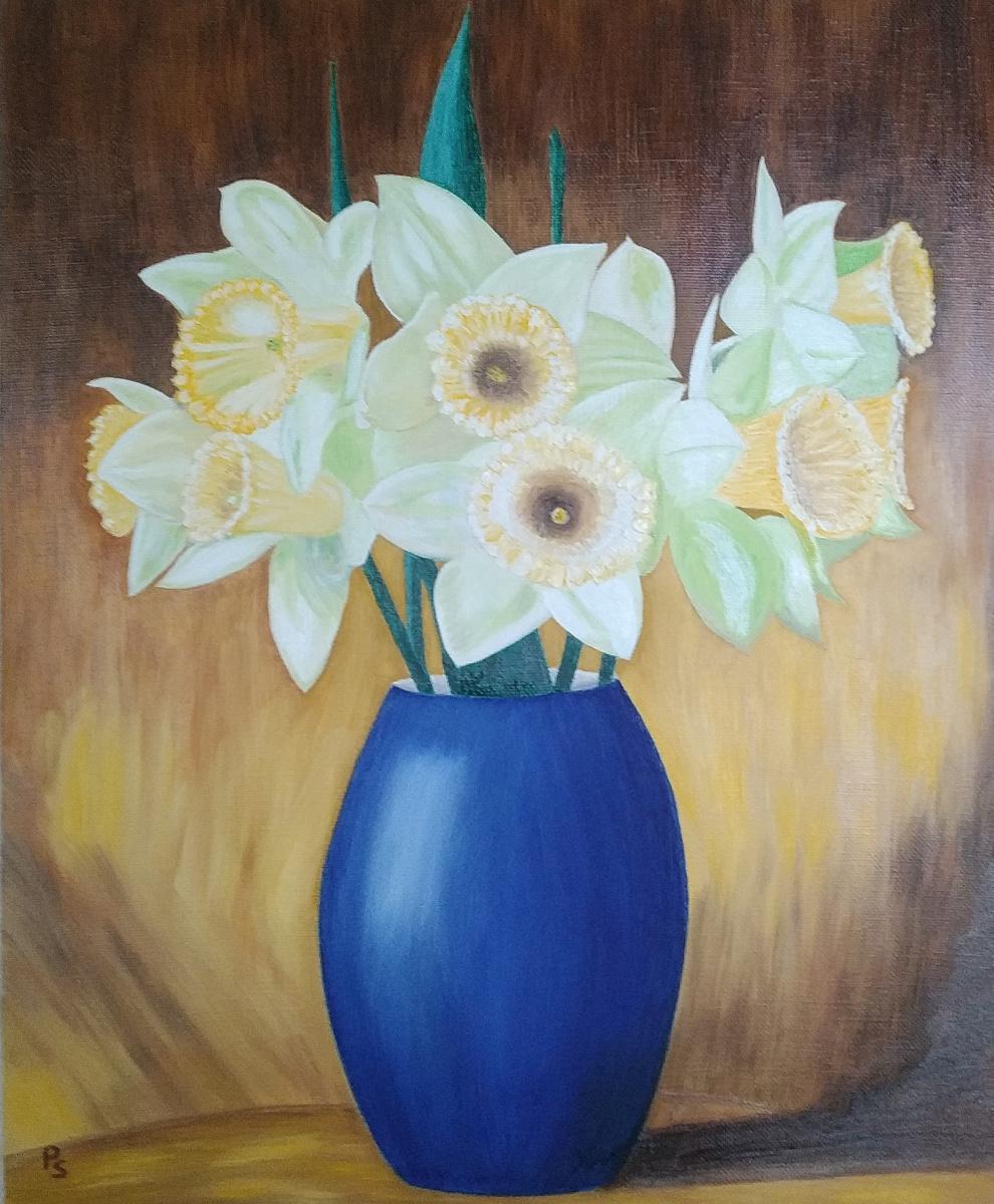Sergey Valentinovich Polyakov. Bouquet in a blue vase