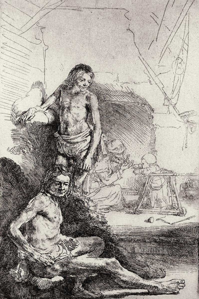 Рембрандт Харменс ван Рейн. Двое обнажённых мужчин