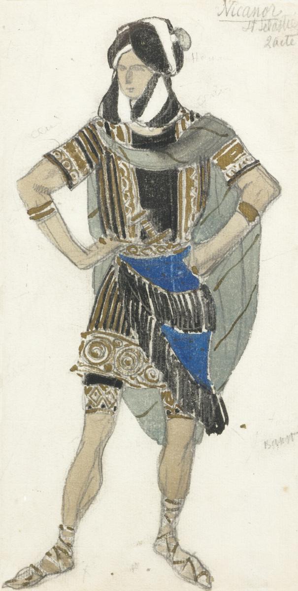 """Lev Samoilovich Bakst (Leon Bakst). Costume design for the ballet """"the Martyrdom of Saint Sebastian"""""""