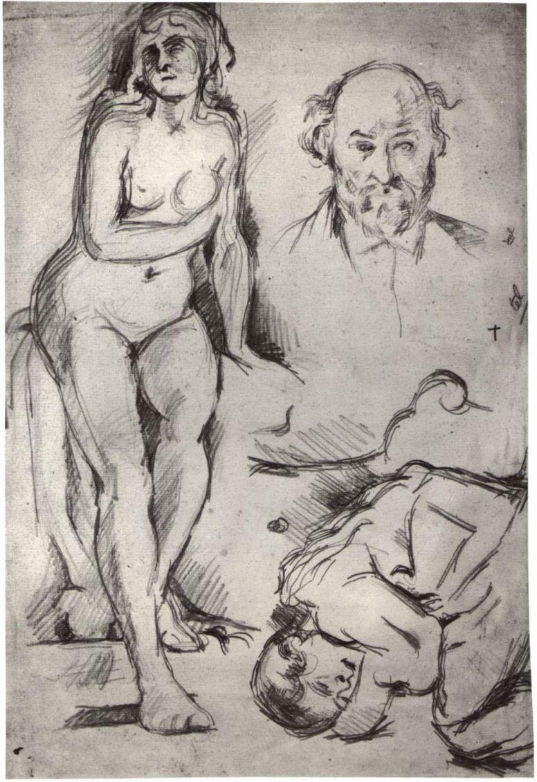 Поль Сезанн. Лист этюдов: присевшая обнаженная, автопортрет и спящий ребенок