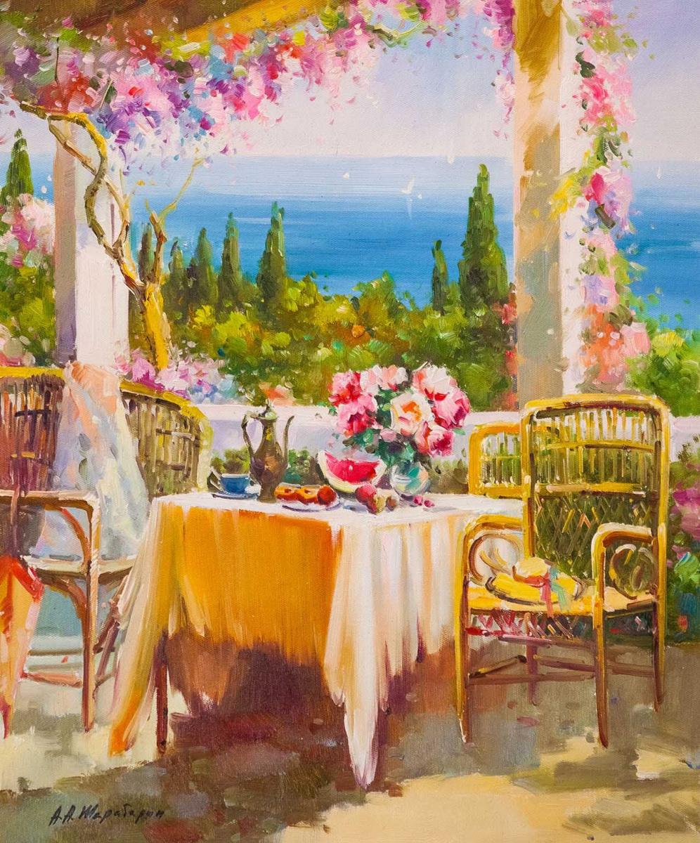 Andrey Sharabarin. Blooming terrace. Sea view
