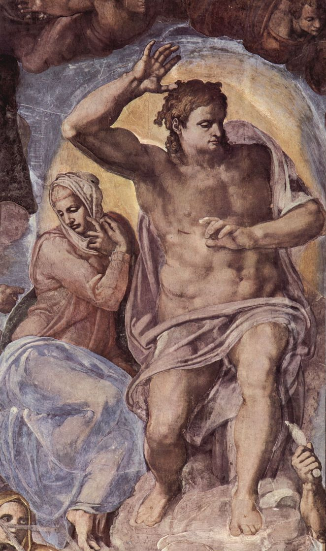Michelangelo Buonarroti. Last judgment, fresco the altar wall of the Sistine chapel, detail: Christ with Mary