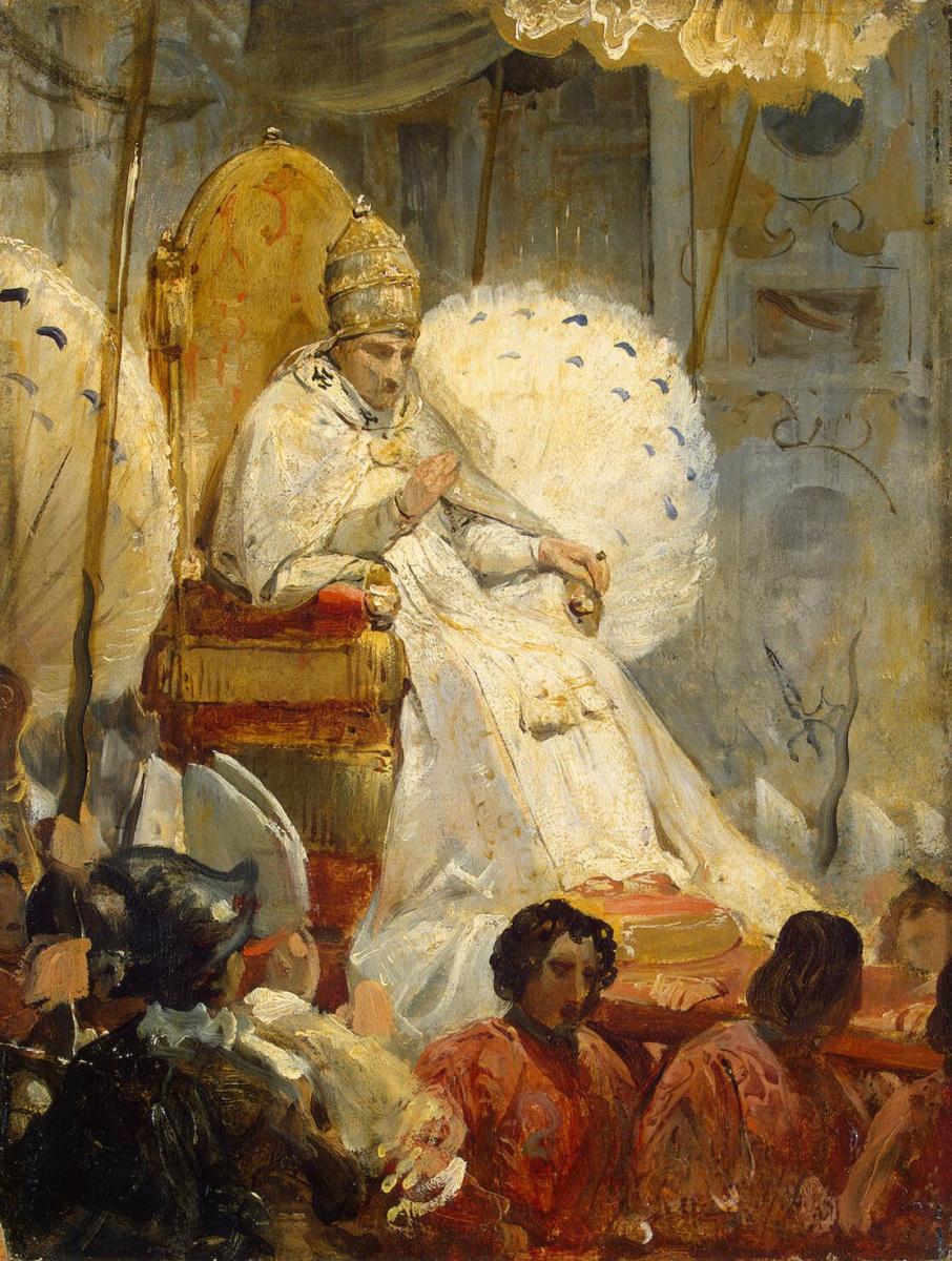 Эмиль-Жан-Орас Верне. Торжественный вынос Римского Папы Пия VIII в Собор св. Петра в 1829 г