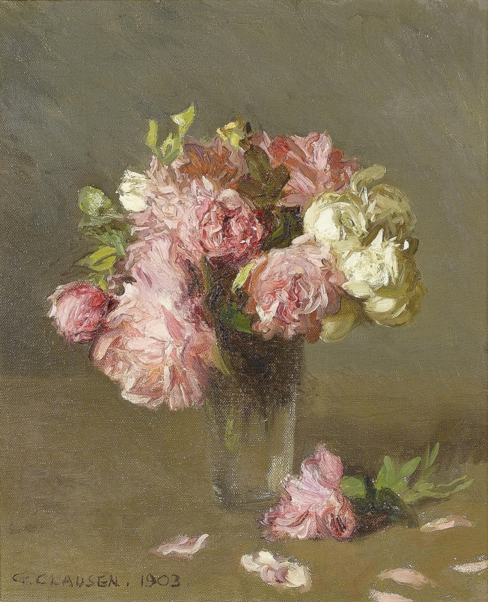 Still life with roses in a glass glass by George Clausen: History ...