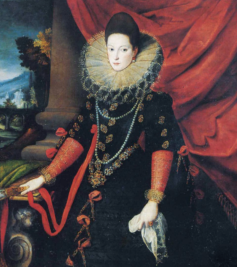 Sofonisba Angisola. Portrait of Donna Giovanna of Austria with a fan in her hands. Fragment