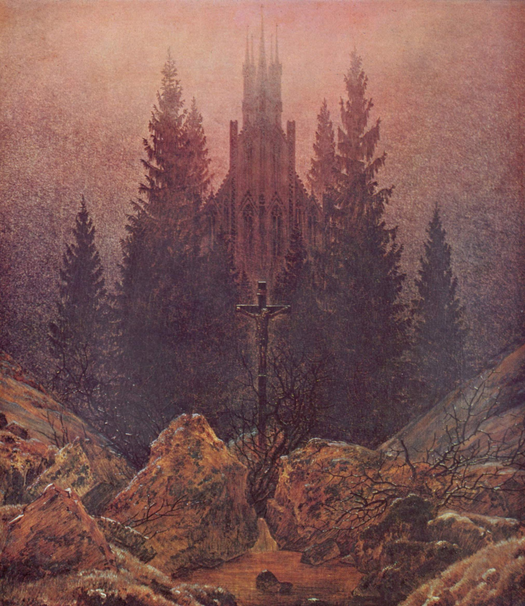 Caspar David Friedrich. Cross and Cathedral in the mountains