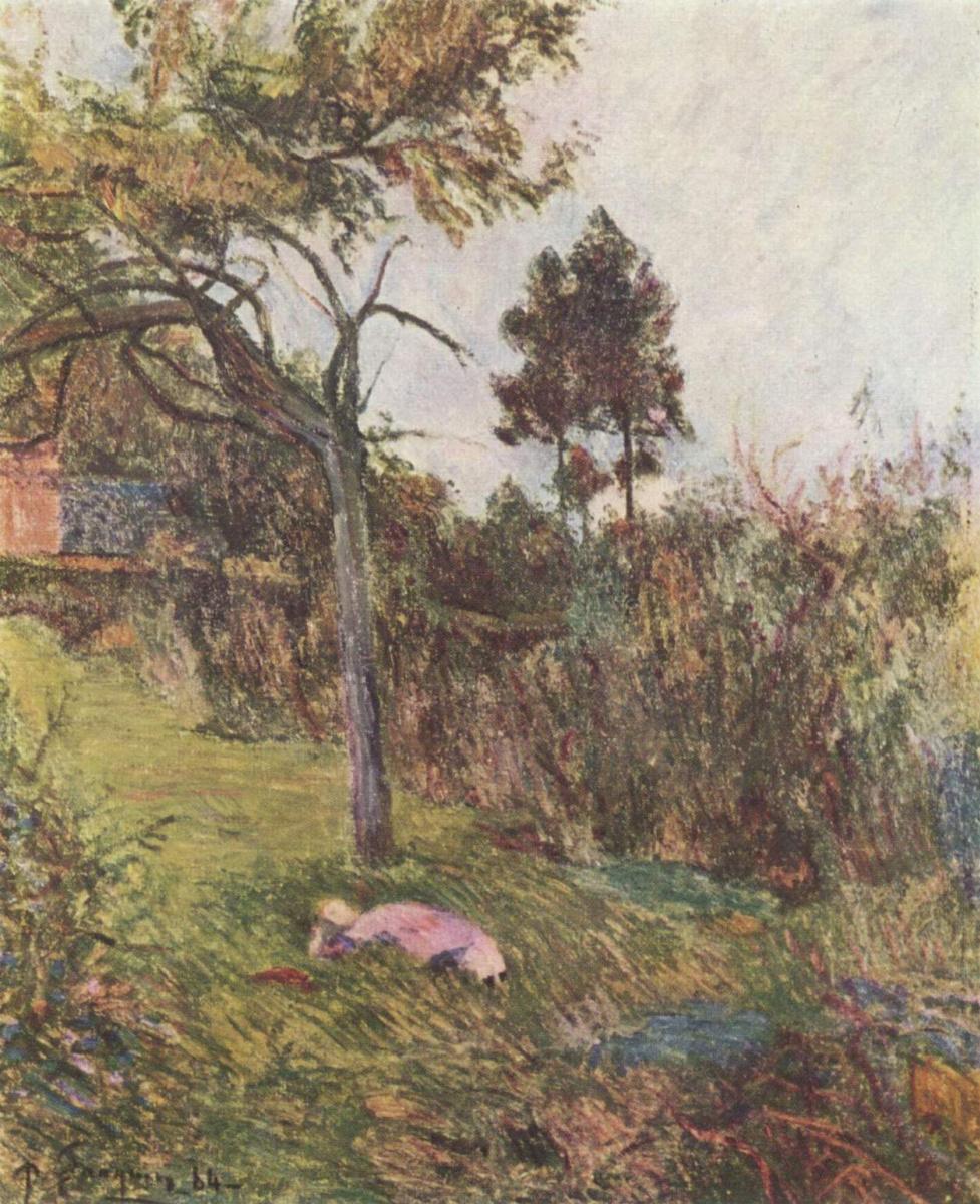 Поль Гоген. Пейзаж с лежащей женщиной