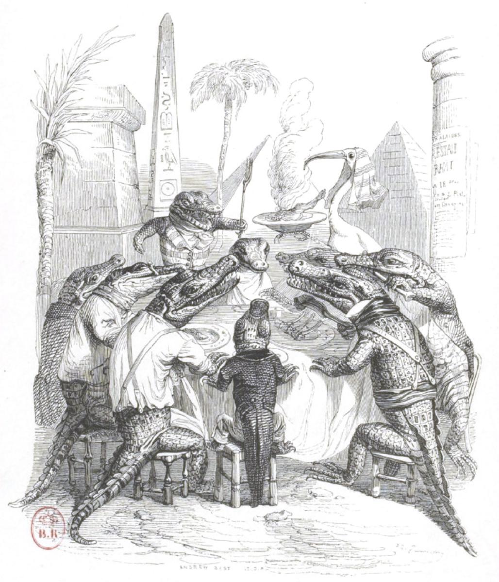 """Жан Иньяс Изидор (Жерар) Гранвиль. Банкет на берегу Нила. """"Сцены общественной и частной жизни животных"""""""