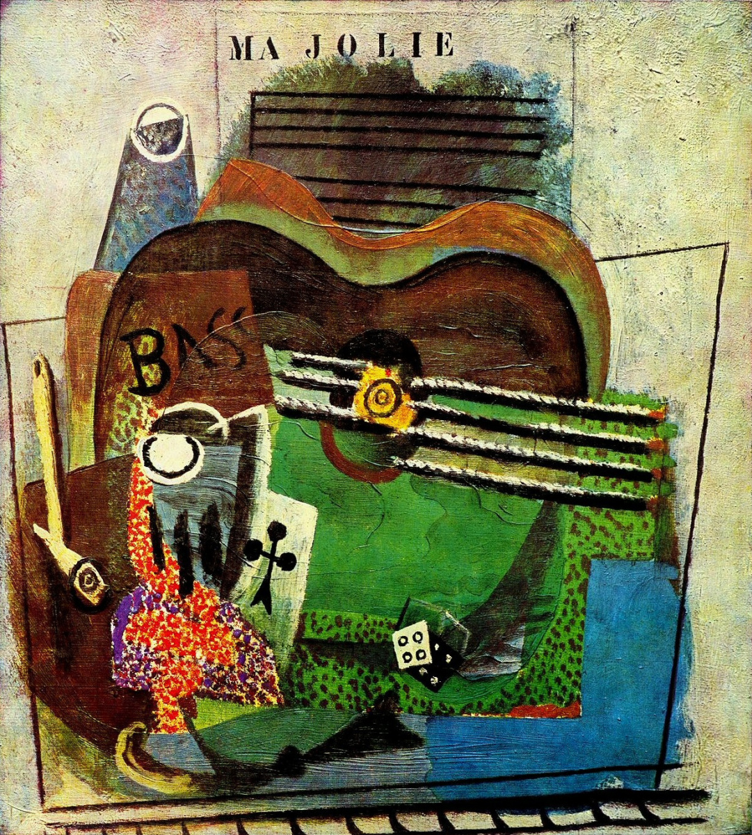 Pablo Picasso. Pipe, glass, ACE of clubs, guitar and bottle of bass (Ma Jolie)