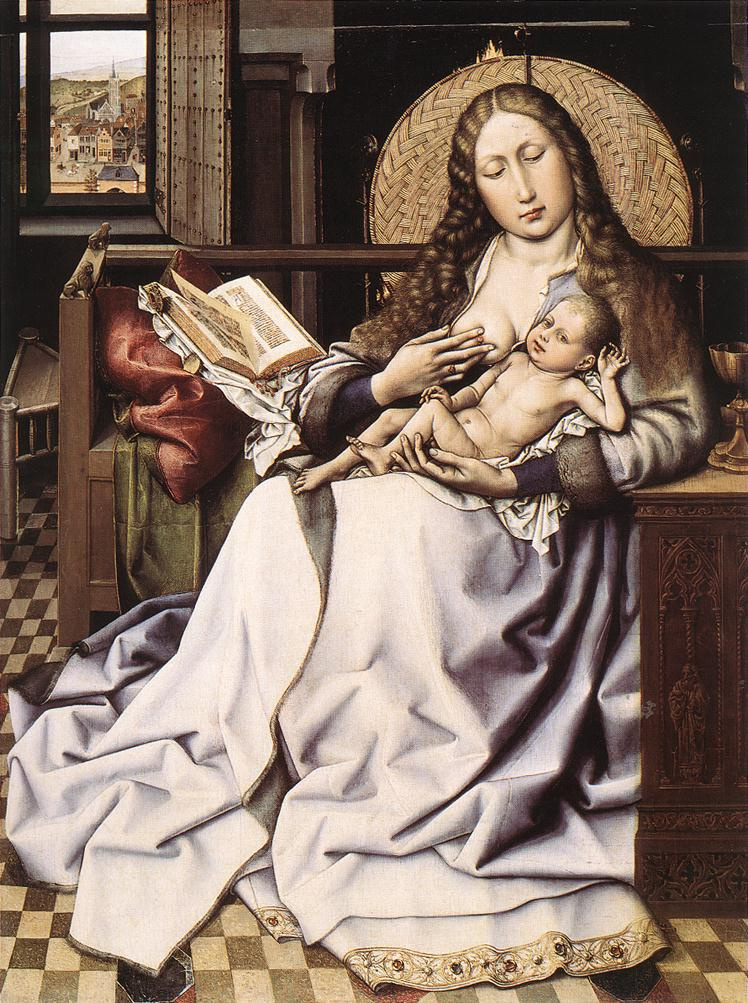 Робер Кампен. Мадонна с младенцем и книгой у камина
