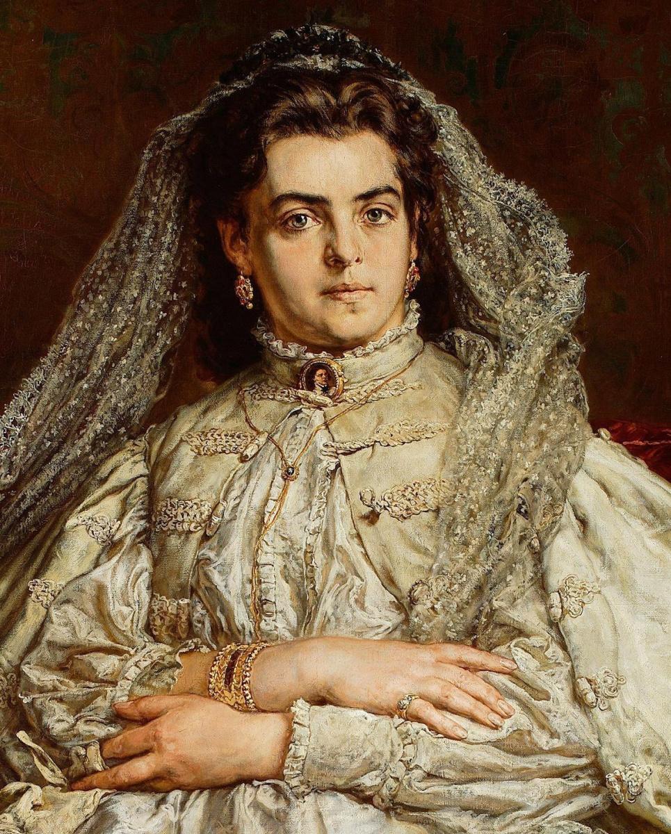 Ян Матейко. Теодора Джибультовска Матейко, жена художника, в свадебном платье. Фрагмент