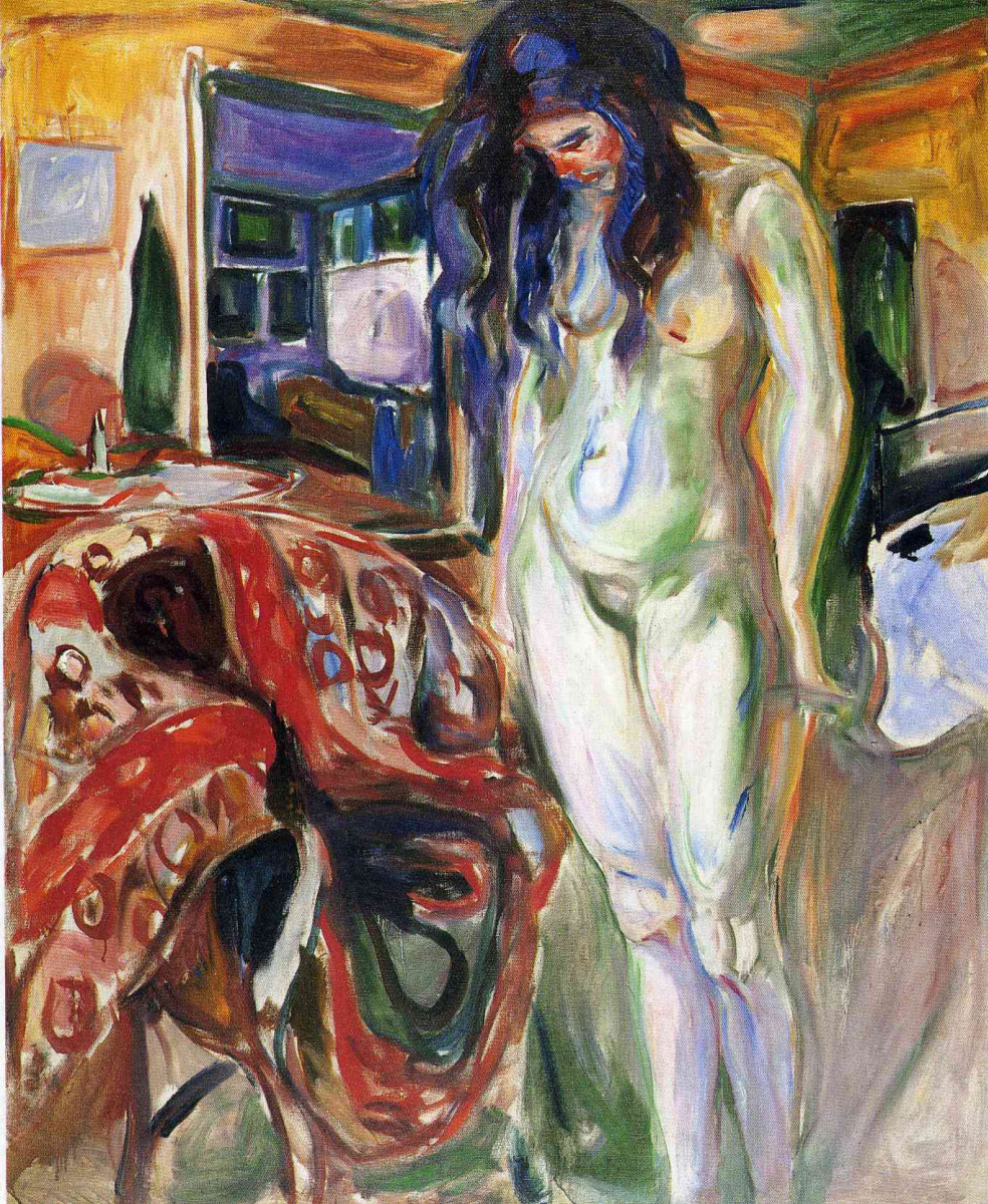 Edvard Munch. Nude next to a wicker chair