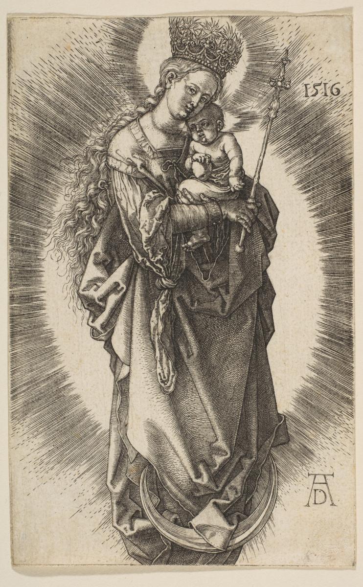 Альбрехт Дюрер. Мадонна на полумесяце в короне из звезд и со скипетром