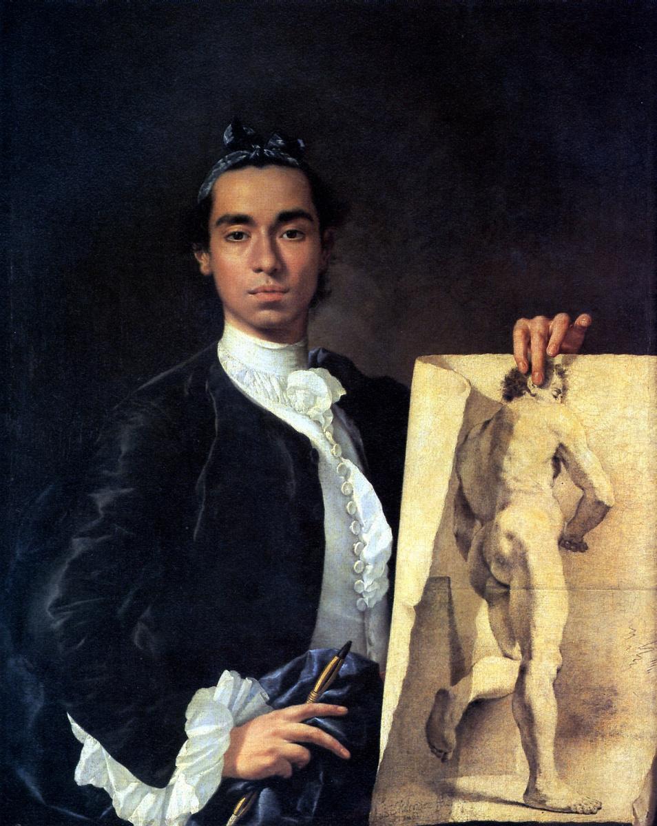 Луис Мелендес. Автопортрет с рисунком обнаженного натурщика