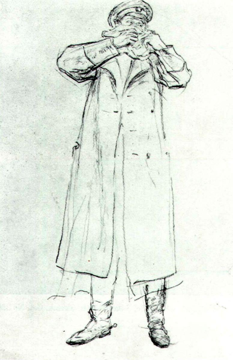 Илья Ефимович Репин. Стоящий мужчина в мундире, прижимающий к лицу платок. Дуэль