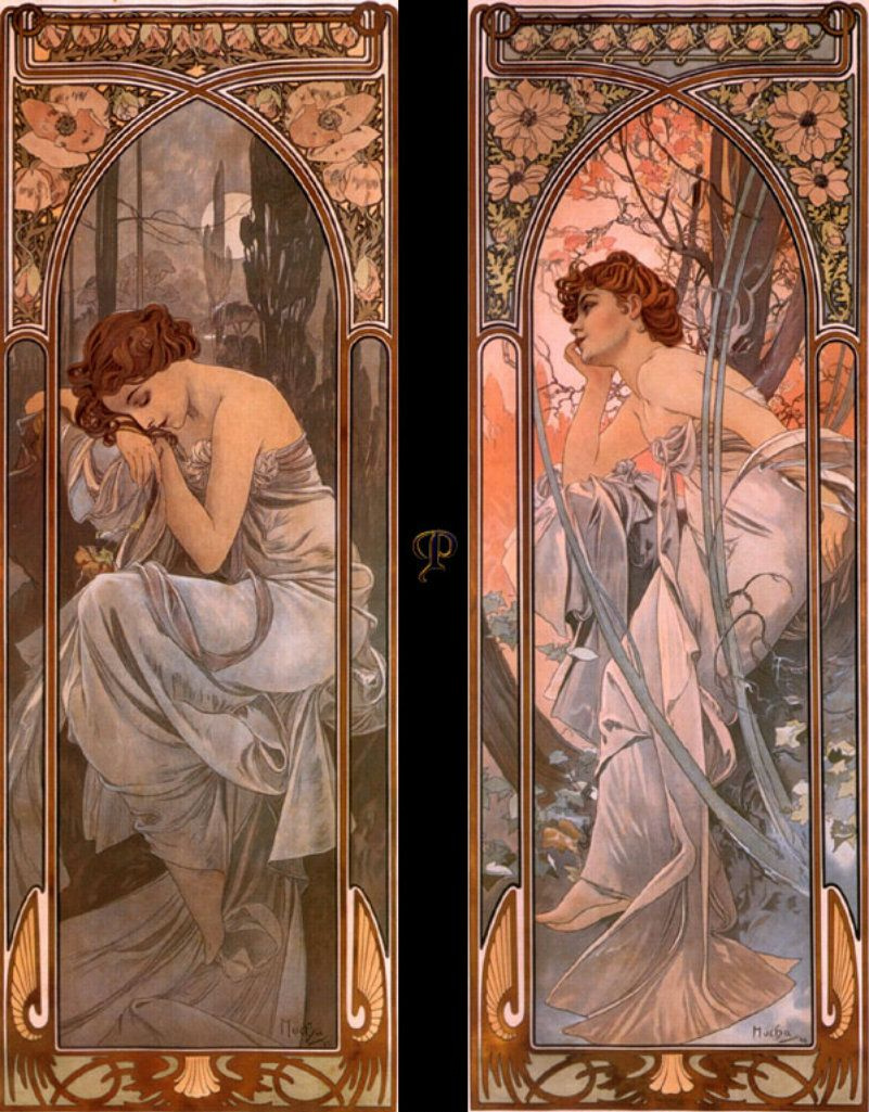 """Alphonse Mucha. Night and evening reverie. Series """"Times of day"""""""