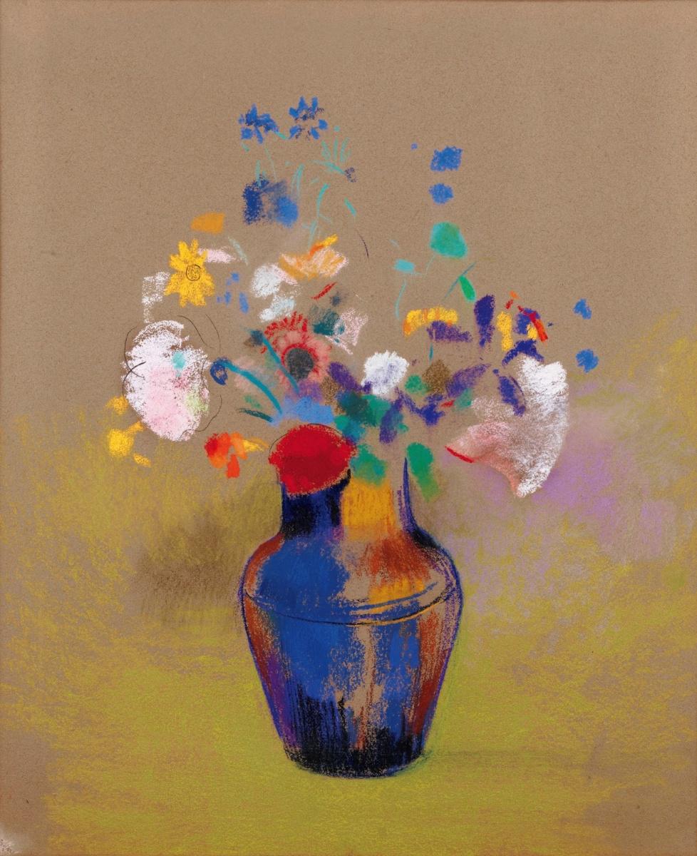 Одилон Редон. Цветы на сером фоне