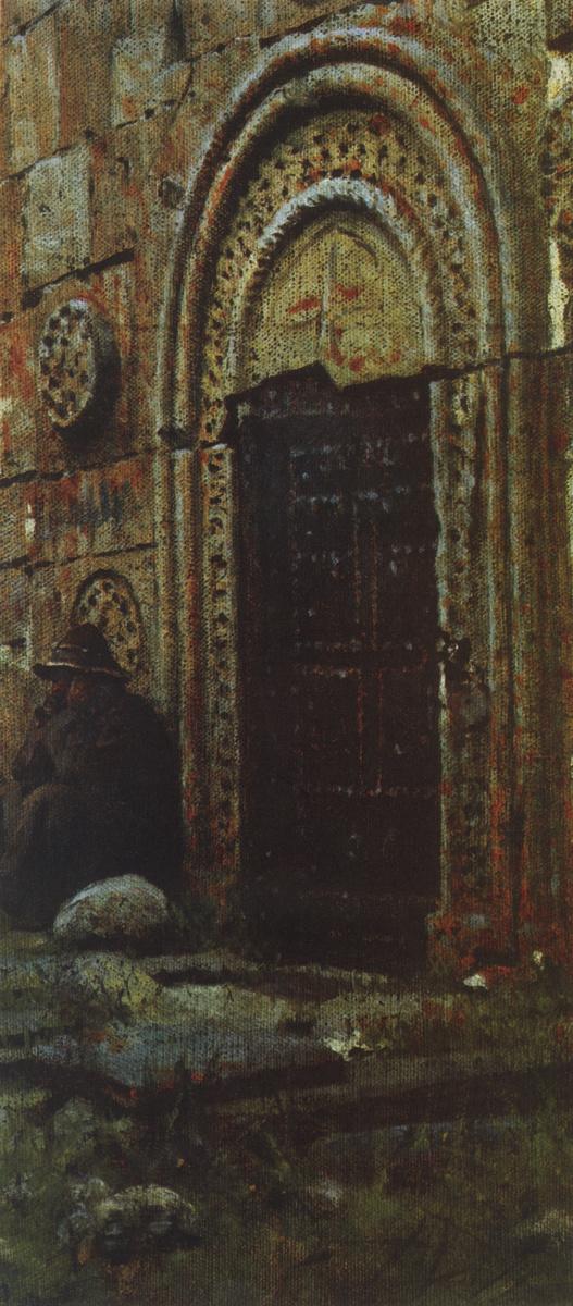 Василий Васильевич Верещагин. Входная дверь в церковь под Казбеком. Этюд