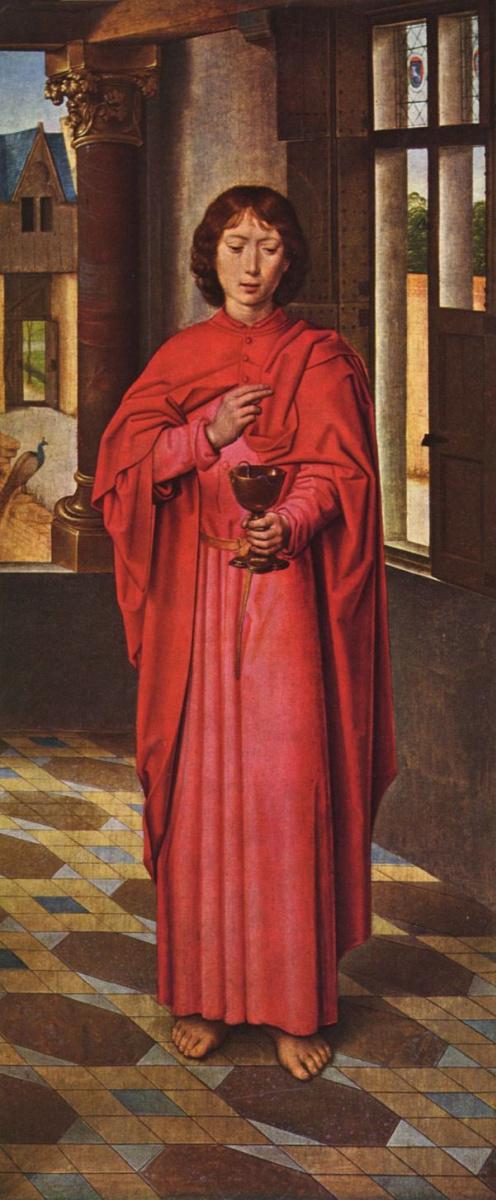 Ганс Мемлинг. Алтарь Девы Марии сэра Джона Донна Кидвелли, правая створка: Иоанн Евангелист