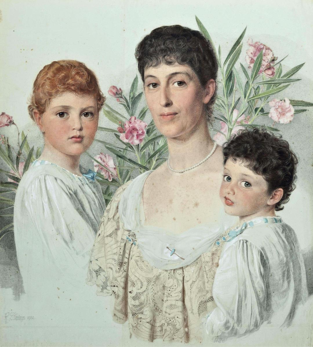Энтони Фредерик Огастас Сэндис. Портрет матери с двумя детьми