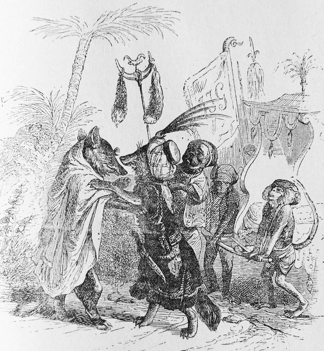 Жан Иньяс Изидор (Жерар) Гранвиль. Ряженые лисицы. Иллюстрации к басням Лафонтена
