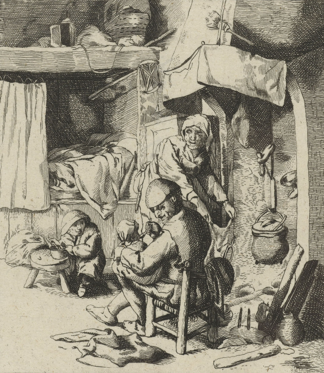 Adrian Jans van Ostade. Peasant family in interior. Father with child on lap