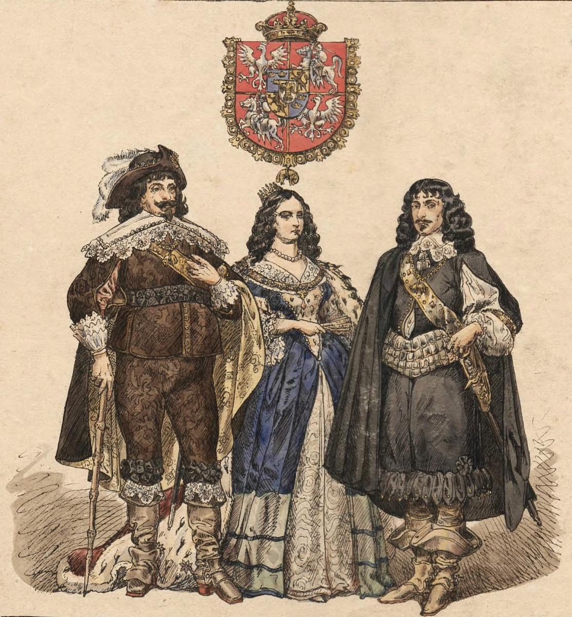 Ян Матейко. Владислав IV Ваза с женой Людвикой Марией и братом Яном Казимиром