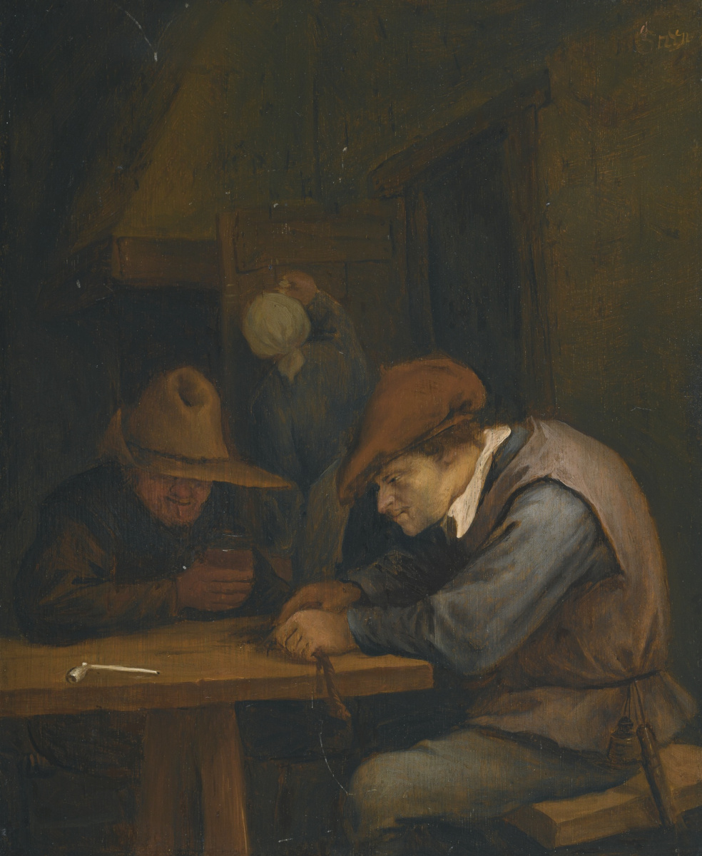 Jan Steen. Cutting tobacco man